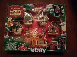 Mr Christmas Holiday Innovation Mickey's Clock Shop Music Animated 1993 Open Box