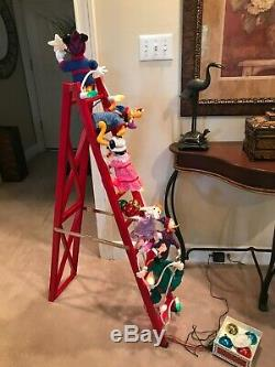 Mr Christmas Mickey's Tree Trimmers 1993 With Box 6 Animated Figures On Ladder