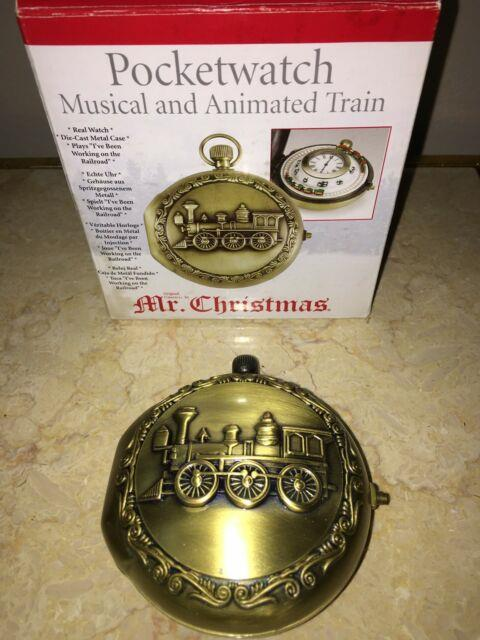 Mr. Christmas Musical Animated Train Pocket Watch 2005 Collectible Pocketwatch