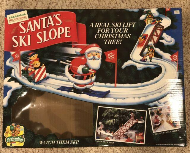Mr. Christmas Santa's Ski Slope Animated Mechanical Display In Original Box