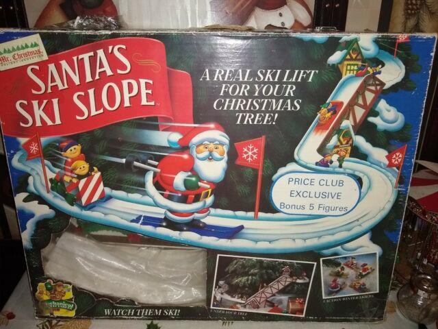 Mr. Christmas Santa's Ski Slope In Original Box Rare With 5 Skiers
