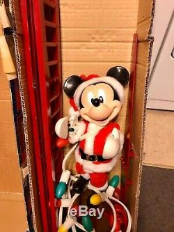 Mr Christmas Stepping Mickey Automated Mickey Mouse Climbing Ladder WORKS