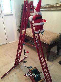 Mr Christmas Stepping Santa Animated Light Display Plays 15 Carols Climbs Ladder