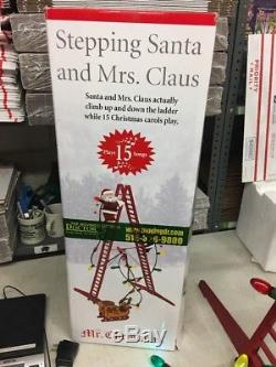 Mr Christmas Stepping Santa & Mrs Claus Climbing Ladder Lights 15 Carols