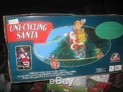 Mr Christmas Uni-cycling Santa Claus vintage Christmas in box