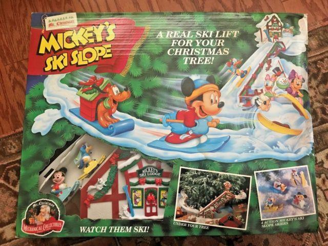 Mr. Christmas Vtg Mickey's Ski Slope 1993 Box Instructions Works! Nib Rare