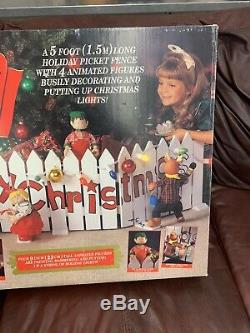 Mr Christmas Vintage Deck the Fence LARGE Animated Holiday Decoration