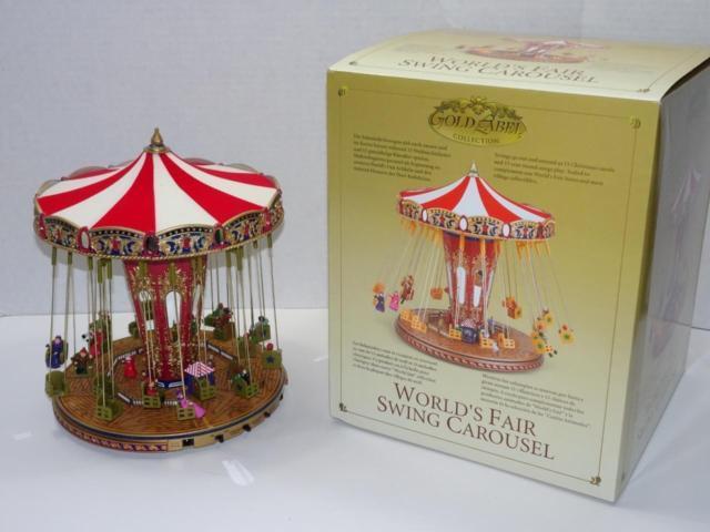 Mr Christmas World's Fair Animated Musical Swing Carousel Ride. Gold Label