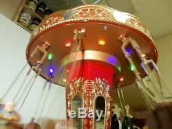Mr. Christmas World's Fair Double Seat Swing Carousel Action/lights Music Box