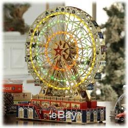 Mr. Christmas World's Fair Grand Metal Ferris Wheel Music Box Hand Painted NEW