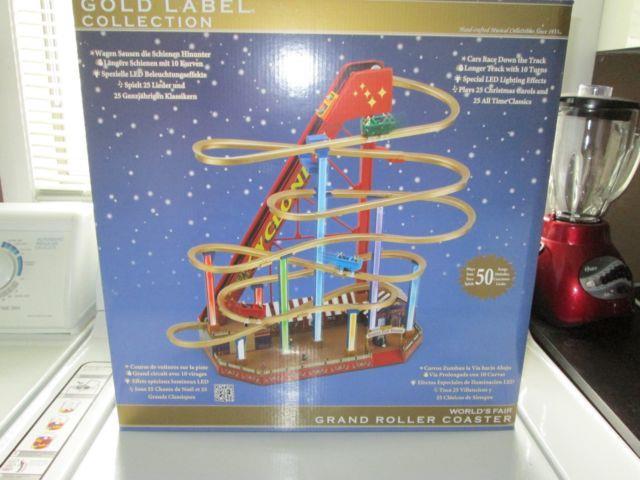 Mr Christmas World's Fair Grand Roller Coaster Gold Label Nib 50 Song Led Lights