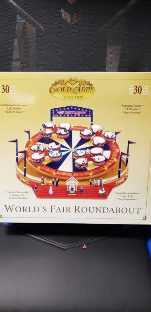 Mr Christmas World's Fair Lighted Spinning Cups Ride Multi-action Music Box Mint