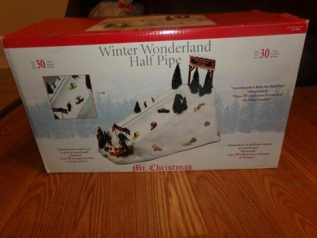 Mr Christmas -winter Wonderland Half Pipe Snowboarders Action/lites Music Box