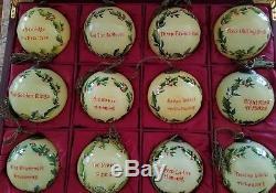 NE QWA Susan Winget 12 Days of Christmas Ne'Qwa Art glass ornaments RARE