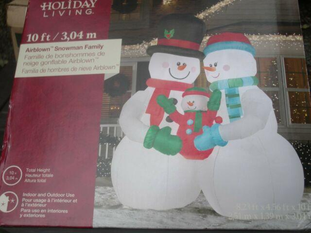 New 10' Gemmy Lighted Snowman Family Christmas Inflatable Airblown Blow-up
