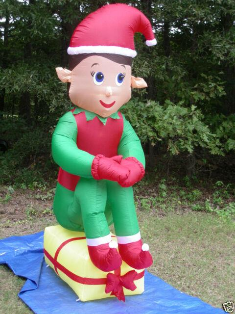 New 7' Tall Lighted Giant Elf On Present Christmas Airblown Inflatable Blow-up