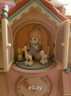 NEW Rare Xmas Precious Moments Toyland Multi-Action/Lights Clock & Music Box