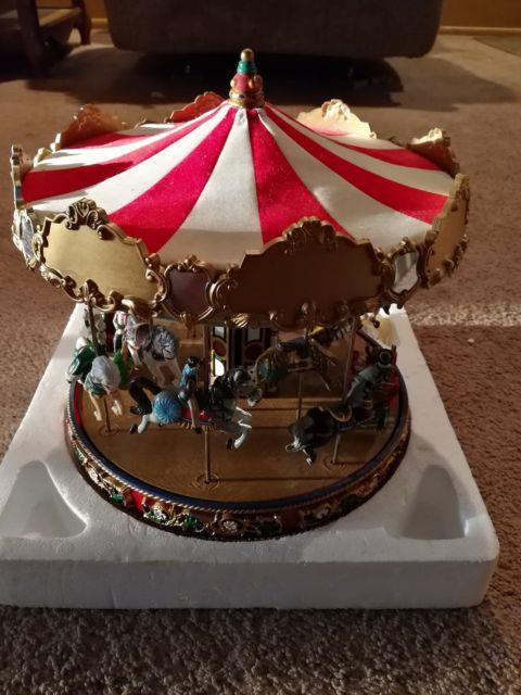 New In Box Mr Christmas Inc. Animated Musical Carousel Gold Label Collection