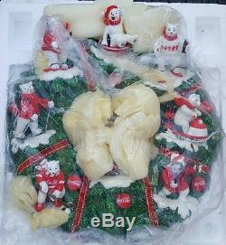NICE RARE Coca Cola Polar Bear Wreath NEW Hamilton Collection NICE Christmas LE