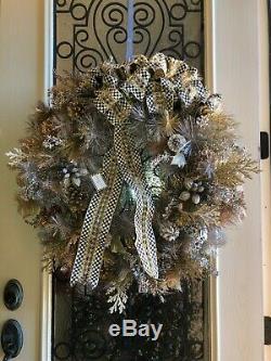 NWT New Tag $495 MACKENZIE CHILDS Precious Metals Courtly Check Christmas wreath