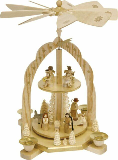 Nativity German Christmas Pyramid With Concert Angels Made In Germany Carousel