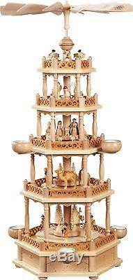 Natural German Nativity 4 Tier Christmas Pyramid Carousel Made in Germany New