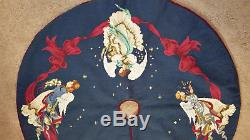 Neiman Marcus Woollen Needlepoint Christmas Tree Skirt Angels 41 x 41 Wool