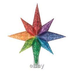 New Christopher Radko Rainbow Stellar Glass Christmas Tree Topper Finial