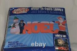 New Gemmy Christmas Airblown Inflatable 14Ft Long Noel Sign With Santa And Snowman