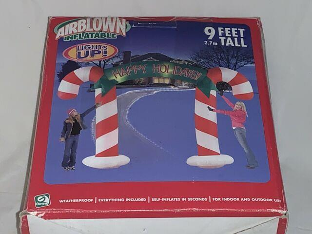 New Gemmy Christmas Airblown Inflatable 9ft Happy Holidays! Candy Cane Archway