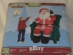 New Rare Gemmy Christmas Airblown Inflatable 5.5 Ft Waving Santa In Chair