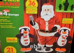 Nib 2006 Gemmy Animated Life Like 3 Piece Singing Dancing Band Santa & Penguins