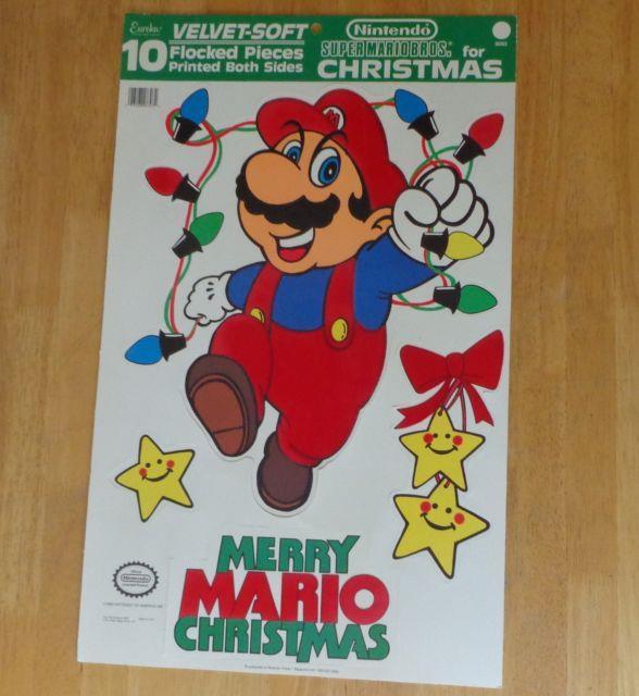 Nintendo Super Mario Bros Merry Christmas Punch Out Velvet Flocked Decoration