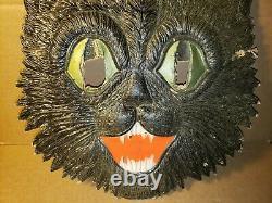 Old Vintage Halloween Cardboard Black Cat Face German Germany 1920's 1930's