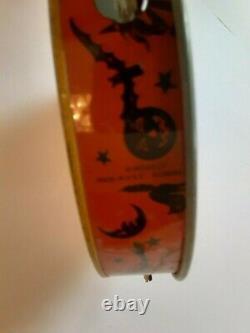 Old Vintage Tin Metal Halloween Tambourine Noisemaker Devil Demon Kirchhof 1930s