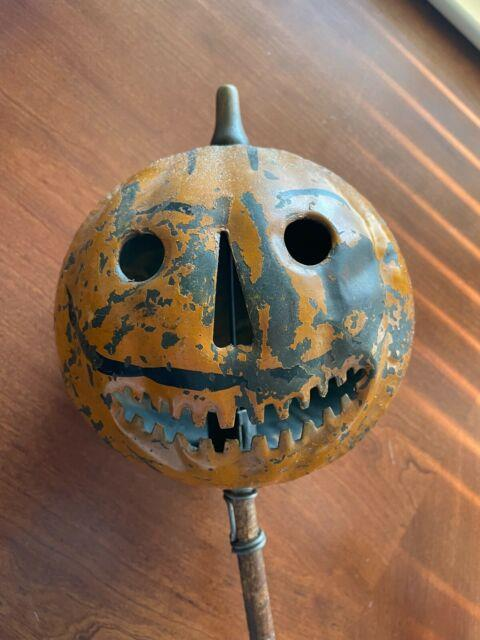 Parade Tin Halloween Jack O Lantern Painted Pumpkin Antique Early 1900's