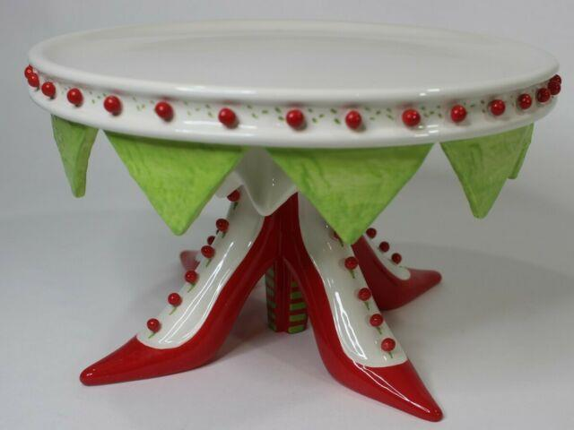 Patience Brewster Kringles Dept 56 High Heel Shoes Cake Stand Plate Christmas