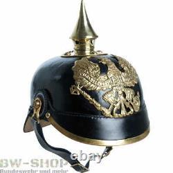 Preußische Pickelhaube Schwarz 1. Weltkrieg Karneval Fasching Helm Leder Messing