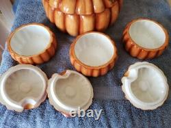 Pumpkin Soup Tureen with Lid, 3 Matching Lidded Soup Bowls, Ladle Free Shipping
