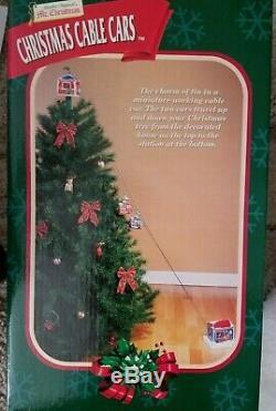 RARE 2000 Mr Christmas Animated TIN Christmas Cable Cars NIB Tree Decor