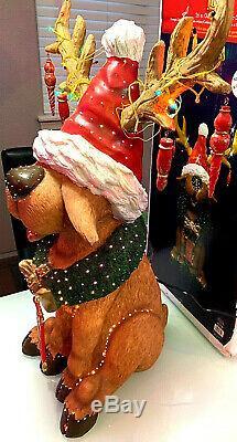 RARE 31 FIBER OPTIC Reindeer Deer PULEO Greeter Christmas Lighted Glow In Box