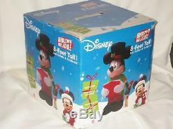RARE 8' Tall Gemmy Mickey Mouse Caroler Lighted Christmas Airblown Inflatable