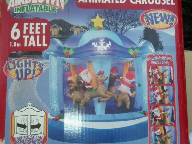 Rare Blue 6' Gemmy Lighted Rotating Carousel Christmas Airblown Inflatable-new