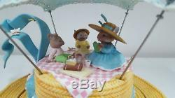 RARE Enesco Summertime Frolic & Picnic Moving Mice On Lady's Hat Music Box