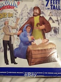 RARE Gemmy 7' Nativity Scene Mary & Joseph Lighted Christmas Airblown Inflatable