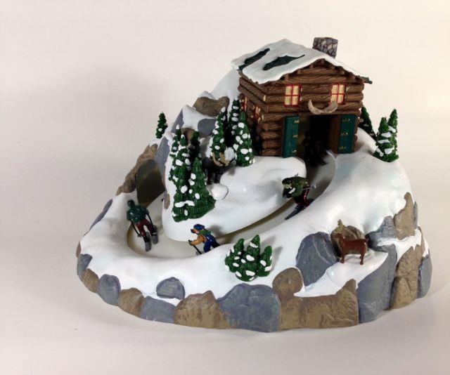 Rare Mr. Christmas North Lodge Multi-action Ski Slope 15 Carol Music Box Mib
