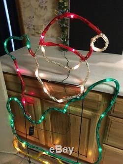 RARE Mr Christmas Silhouette Light Sculpture Santa In Sleigh 48 X 32 IN BOX