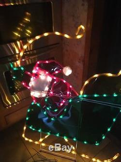 RARE Mr Christmas Silhouette Light Sculpture Santa In Sleigh 51 X 42 HUGE