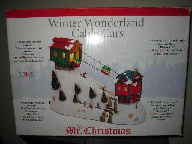 Rare Mr Christmas Winter Wonderland Moving Cable Cars & Skiers Music Box Mint