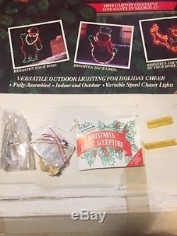 RARE Mr Christmas Yard Lawn Light SculptureSanta In Sleigh 48 32 Decoration